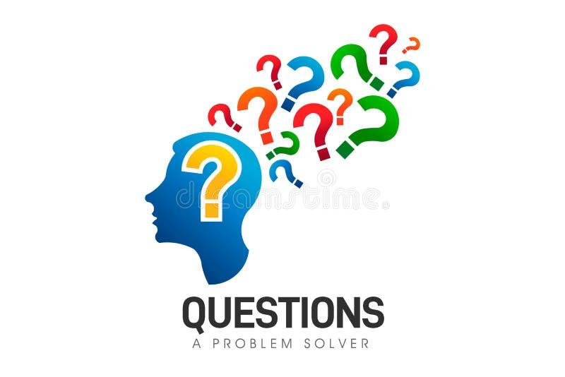 Голова мозга, решающий проблемы вопросов Символ логотипа вектора иллюстрация штока