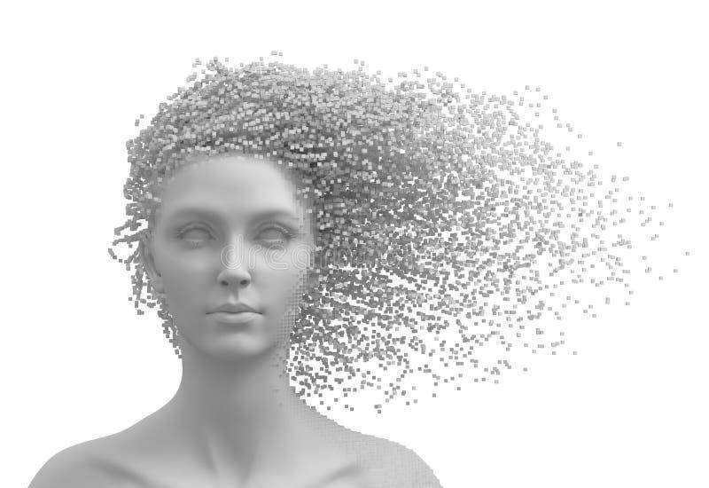 Голова молодой женщины и пикселов 3D как волосы изолированные на белой предпосылке бесплатная иллюстрация