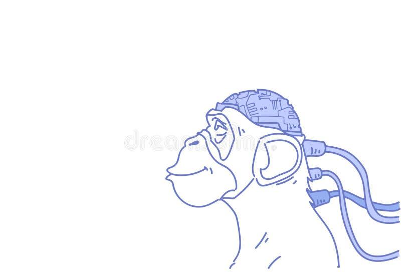 Голова обезьяны соединила современный doodle эскиза концепции искусственного интеллекта мозга киборга горизонтальный иллюстрация штока