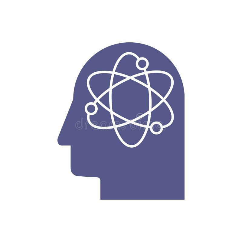 Голова разума человеческого мозга с иллюстрацией концепции робота искусственного интеллекта главной иллюстрация штока