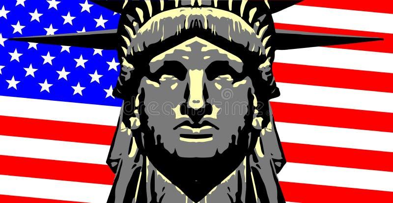 Голова свободы над флагом государственный флаг сша иллюстрация вектора