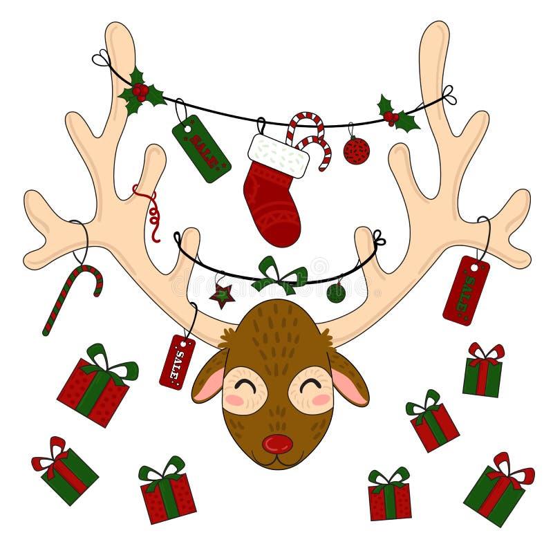 Голова северного оленя с подарочными коробками и ярлыками рождества бесплатная иллюстрация
