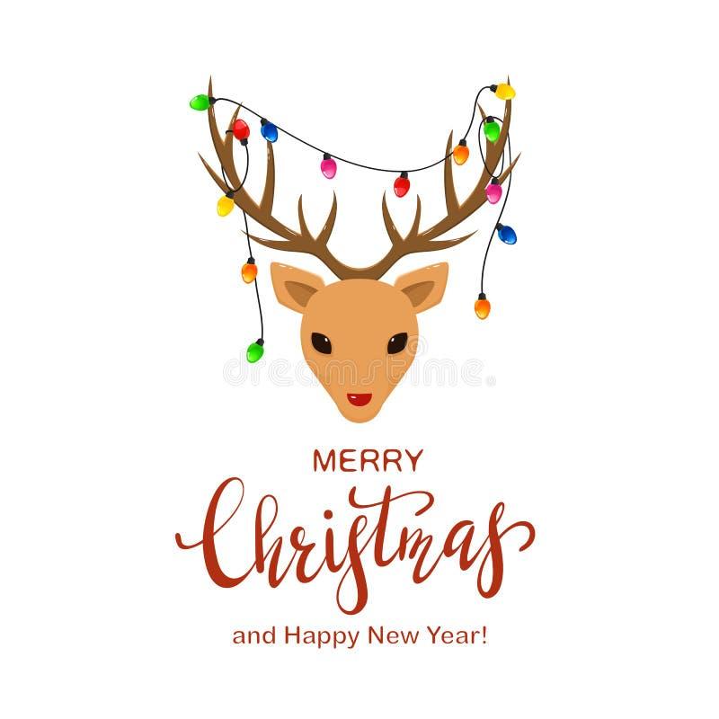 Голова северного оленя с светами рождества на Antlers иллюстрация вектора