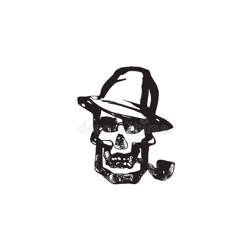 Голова смерти с трубой и шляпой, рукой нарисованная труба человеческого черепа куря, черно-белая иллюстрация вектора изолированна бесплатная иллюстрация