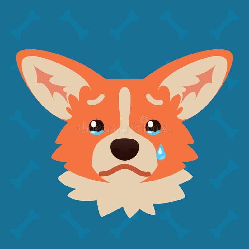Голова собаки Corgi эмоциональная Иллюстрация вектора милой собаки в плоском стиле показывает унылую эмоцию Плача emoji smiley ик иллюстрация штока