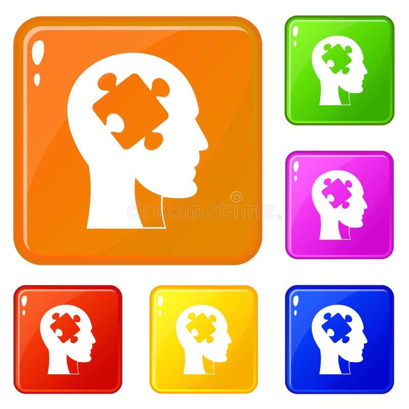 Голова со значками головоломки установила цвет вектора бесплатная иллюстрация
