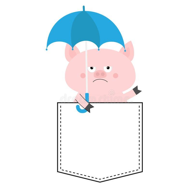 Голова стороны свиньи в кармане Зонтик шарж животных милый Piggy характер поросенка Штриховой пунктир Белый и черный цвет рубашка иллюстрация штока