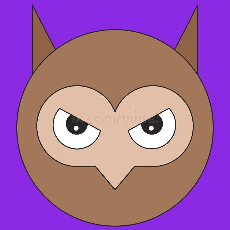 Голова сыча в стиле мультфильма плоском иллюстрация штока