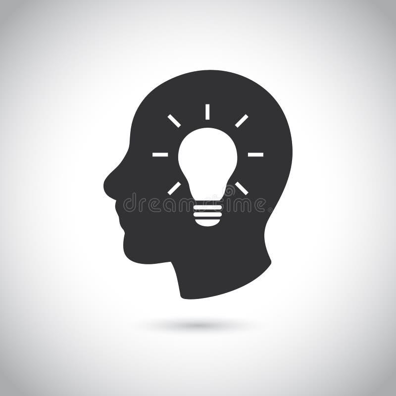 Голова с значком шарика на серой предпосылке иллюстрация вектора