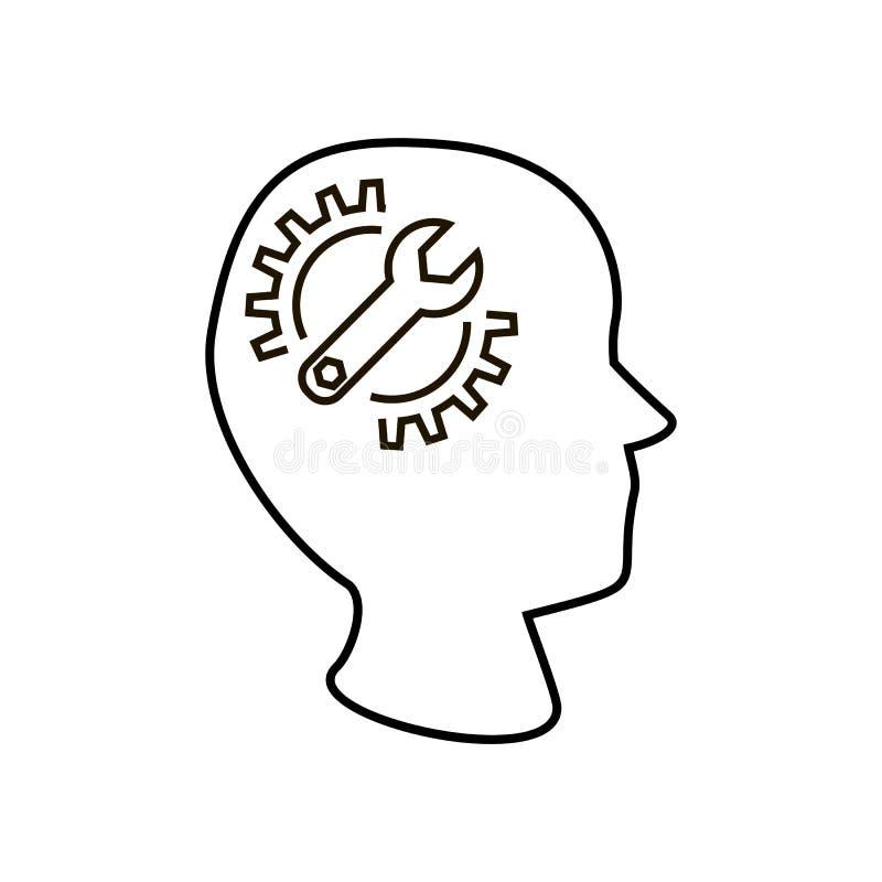 Голова с шестерней и ключем бесплатная иллюстрация