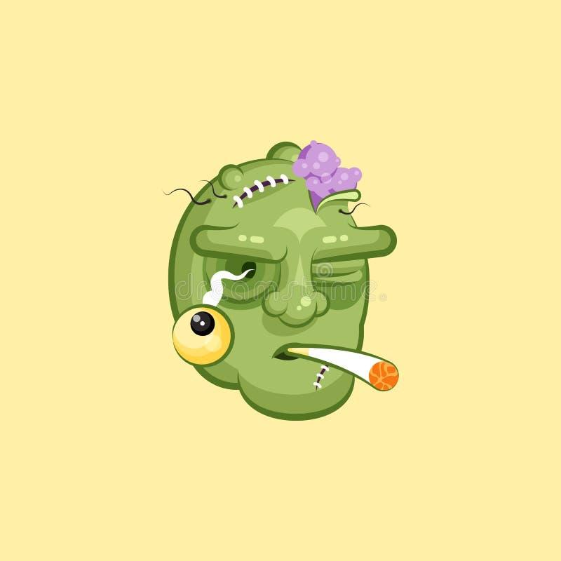 Голова, ужасное выражение лица эмоции сигареты зомби куря иллюстрация штока