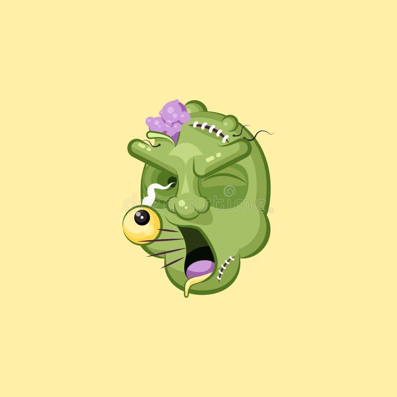 Голова, ужасное зомби выражения лица, выкрикивая эмоцию smiley клекота иллюстрация штока