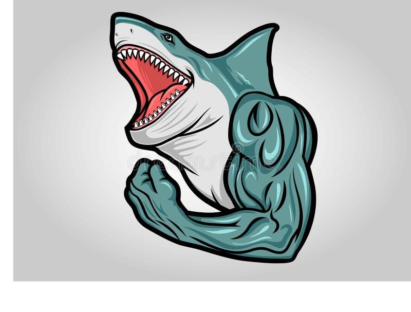 Голова хищника талисмана вектора логотипа акулы акватического опасного иллюстрация штока