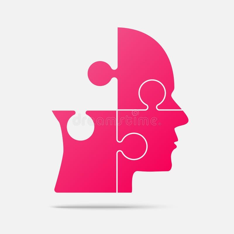 Голова части головоломки дизайна розовая - зигзаг вектора иллюстрация вектора
