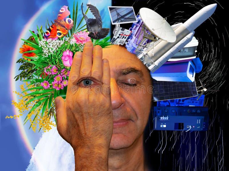 Голова человека покрыта с ладонью с открытым глазом стоковые изображения