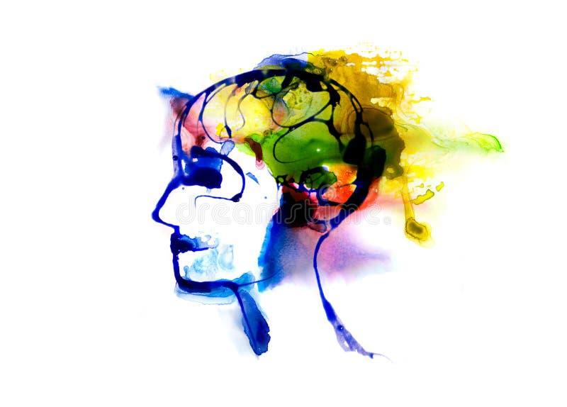 Голова человека сделанная влияний watercolour Собрание текстурированное Watercolour иллюстрация штока