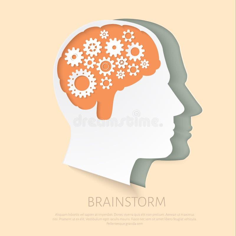 Голова человека с шестернями как работа символа мозга бесплатная иллюстрация