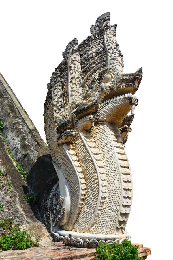 Голова чудовища дракона обеспечить вход виска, Таиланда, изолированного на белизне стоковое фото