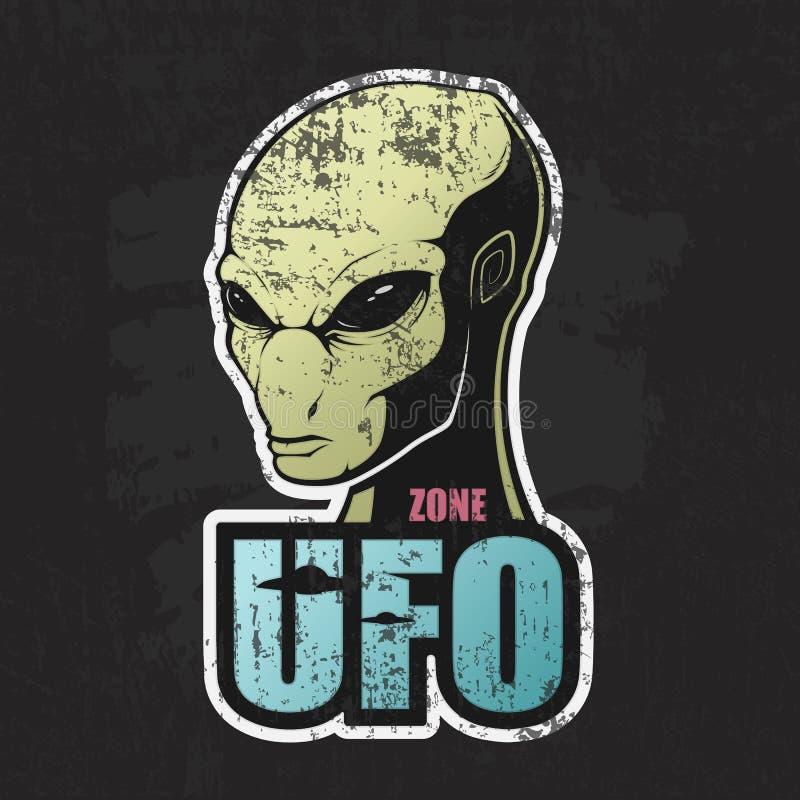 Голова чужеземца и зона UFO иллюстрация вектора