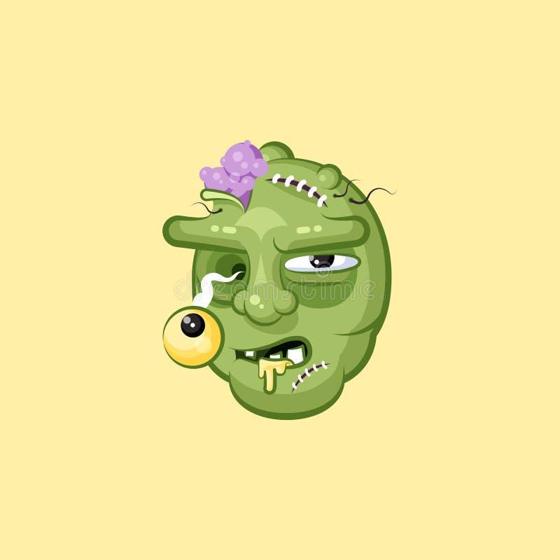 Голова, эмоция ужасного зомби выражения лица голодного гадкая уродская иллюстрация вектора