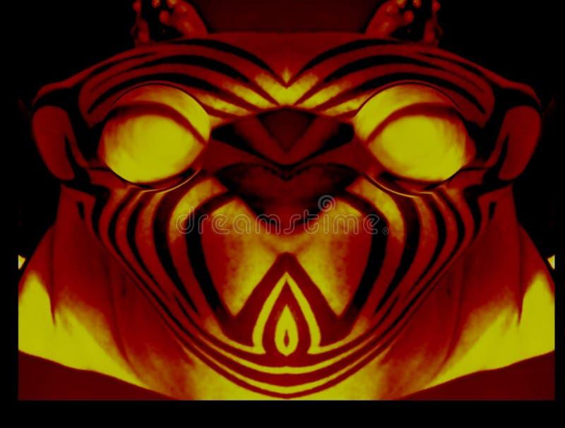 Голова Bulgs тигра наблюдает Behaind стоковая фотография