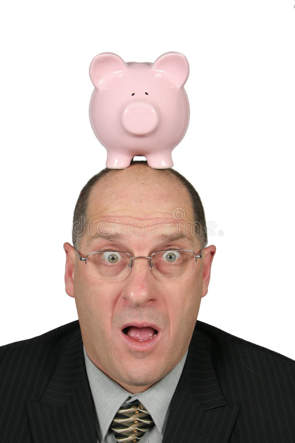 головка дела банка его piggy рта человека открытое стоковое изображение rf