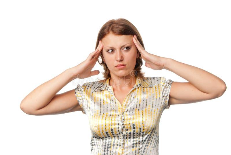 головная боль девушки стоковые изображения rf