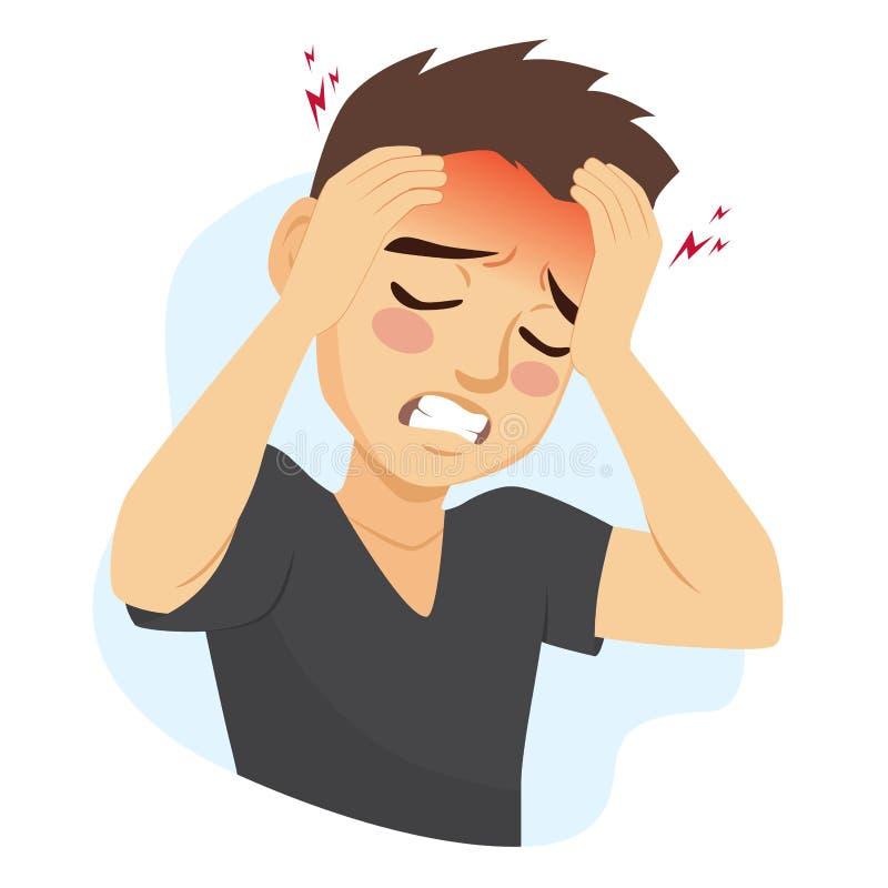 Головная боль мигрени человека страдая бесплатная иллюстрация