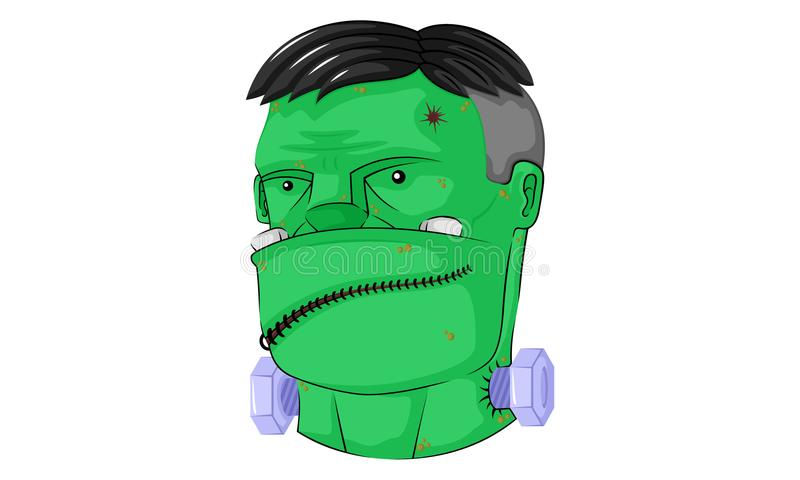 Головное frankenstein зомби иллюстрация штока