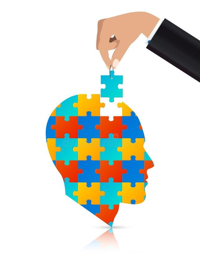 Головоломка в голове Бизнесмен добавляя последнюю часть вектор иллюстрация штока