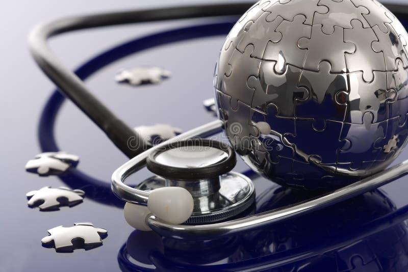 головоломка глобуса предпосылки голубая стоковое изображение