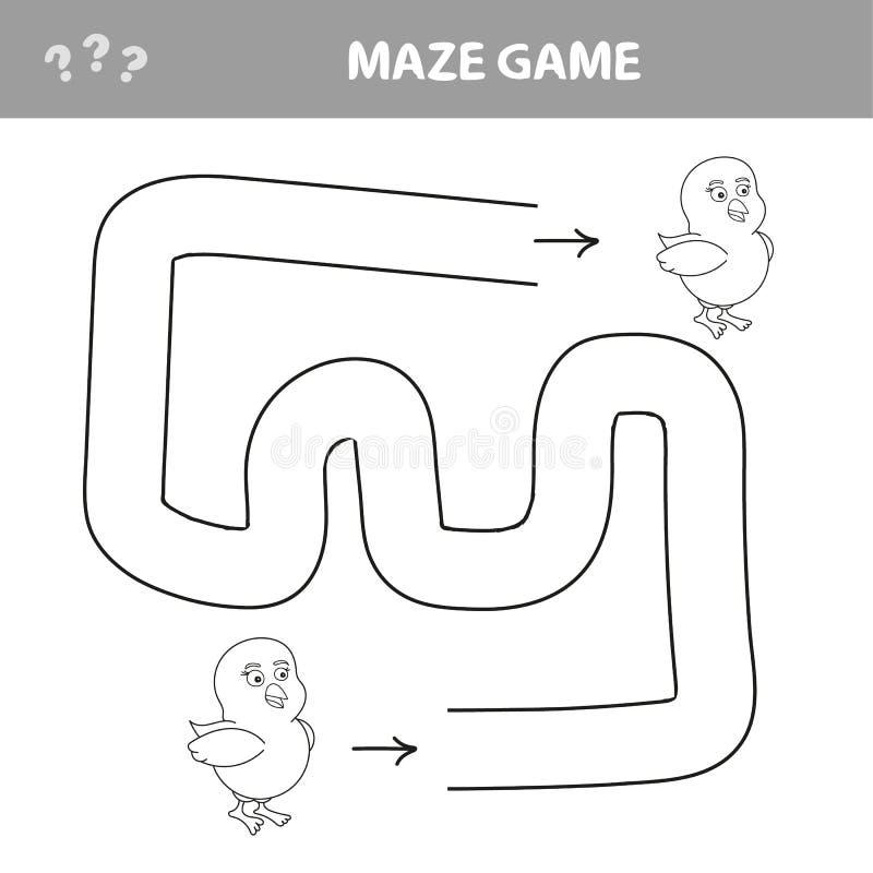 Головоломка для детей, помощь к цыпленку найти свой путь из лабиринта бесплатная иллюстрация