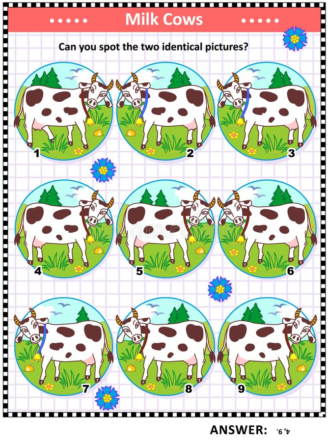 Головоломка изображения с запятнанными коровами молока иллюстрация вектора