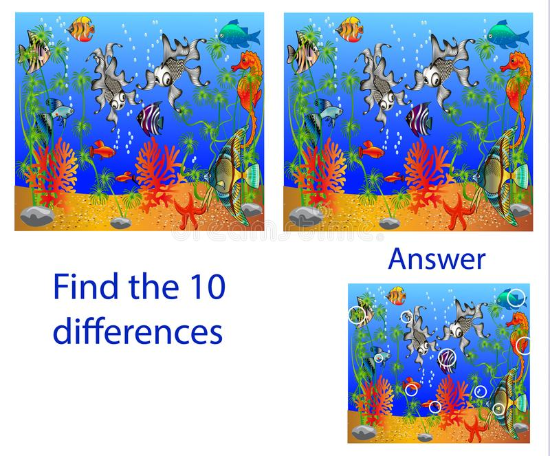 Головоломка иллюстрации ` s детей визуальная: разницы в находки 10 от бесплатная иллюстрация
