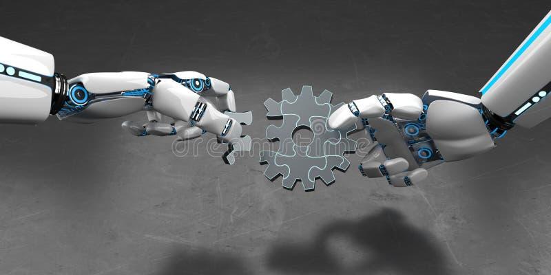 Головоломка колеса шестерни робота гуманоида иллюстрация вектора