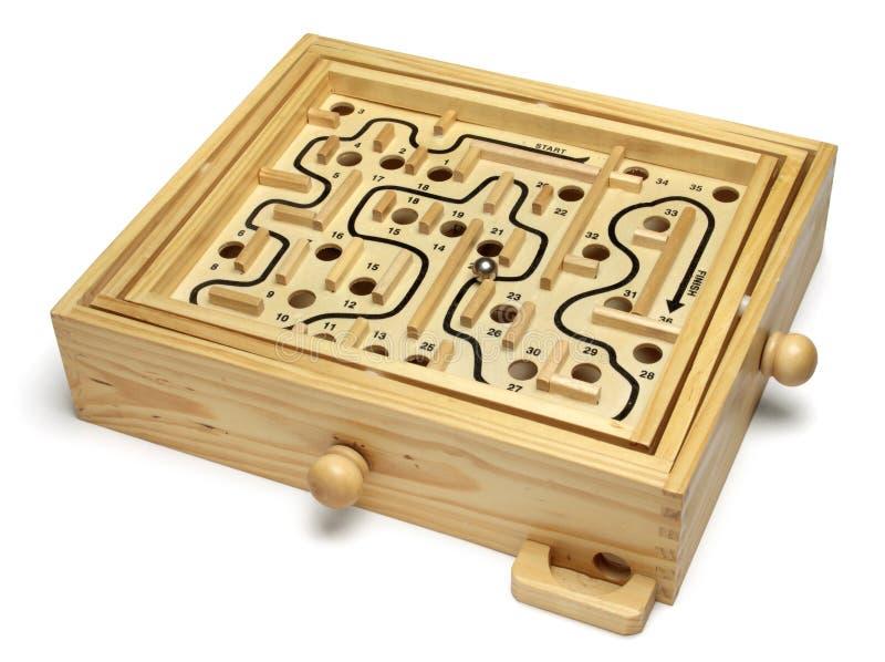 головоломка лабиринта деревянная стоковая фотография