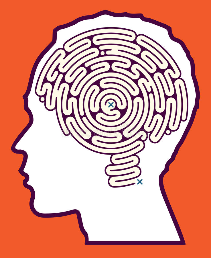 Головоломка лабиринта мозга иллюстрация штока