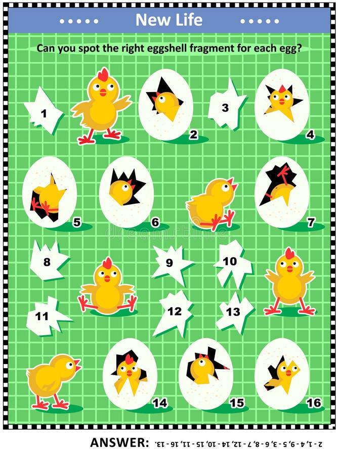 Головоломка логики весны или пасхи визуальная с newborn цыпленоками, яичками и частями eggshell иллюстрация штока