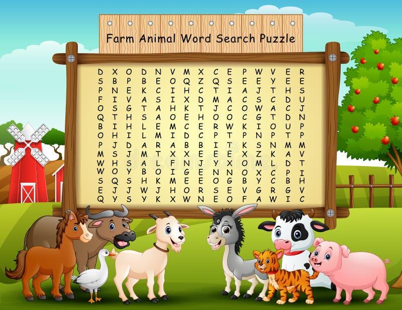 Головоломка поиска слова животноводческих ферм бесплатная иллюстрация