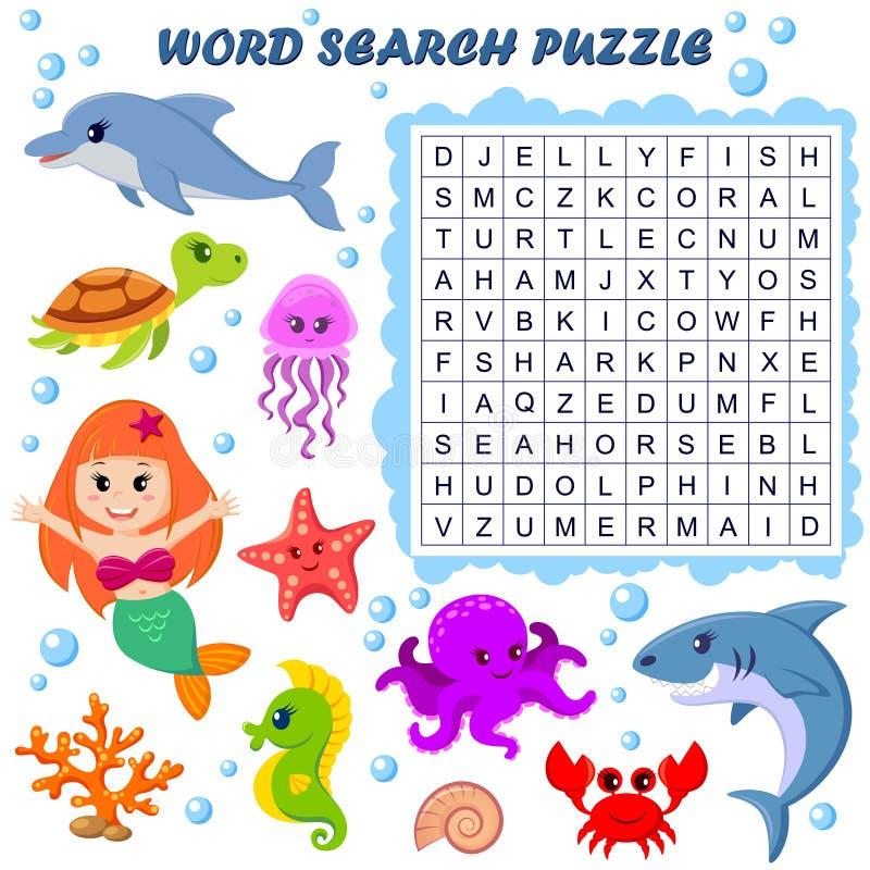 Головоломка поиска слова Игра образования вектора для детей Морские животные бесплатная иллюстрация