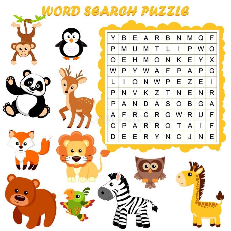 Головоломка поиска слова Игра образования вектора для детей angoras бесплатная иллюстрация