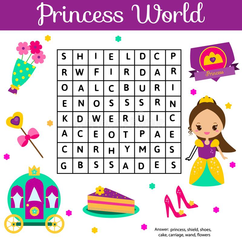 Головоломка поиска слова ягнится деятельность Воспитательная игра детей для девушек Учить терминологию Мир принцессы иллюстрация вектора