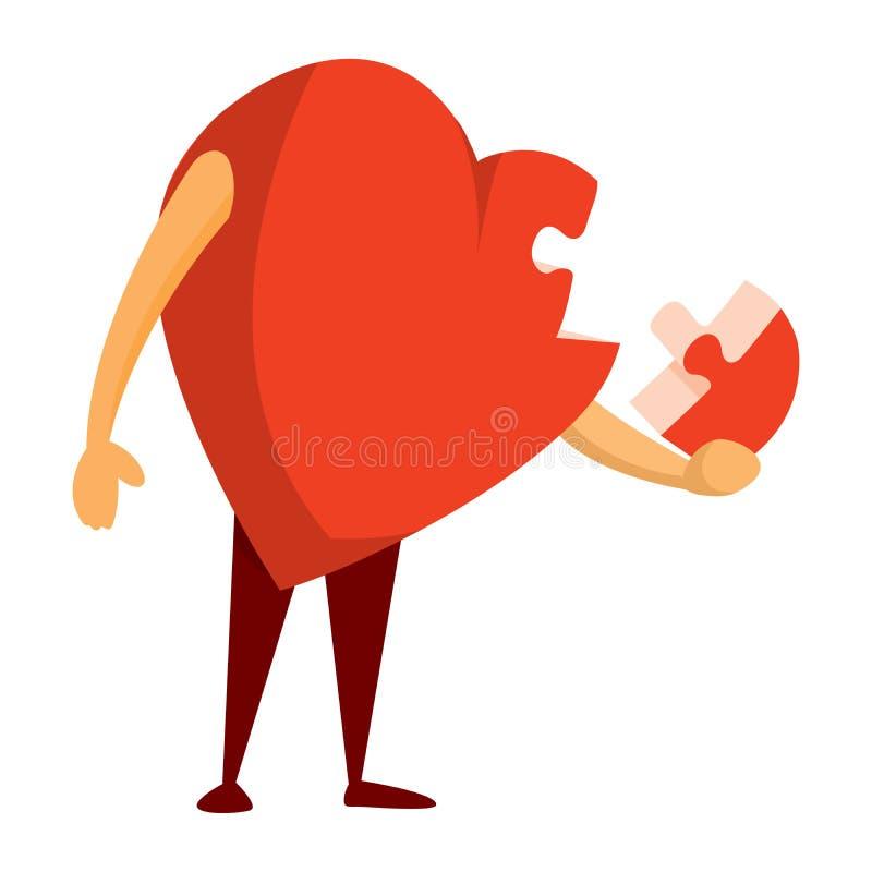 Головоломка разбитого сердца находя решение стоковое изображение rf