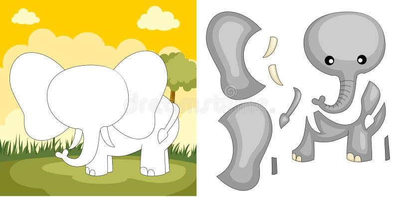 головоломка слона иллюстрация вектора
