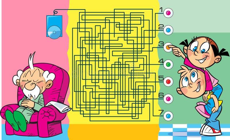 Головоломка с детьми которые звенят дверной звонок иллюстрация вектора