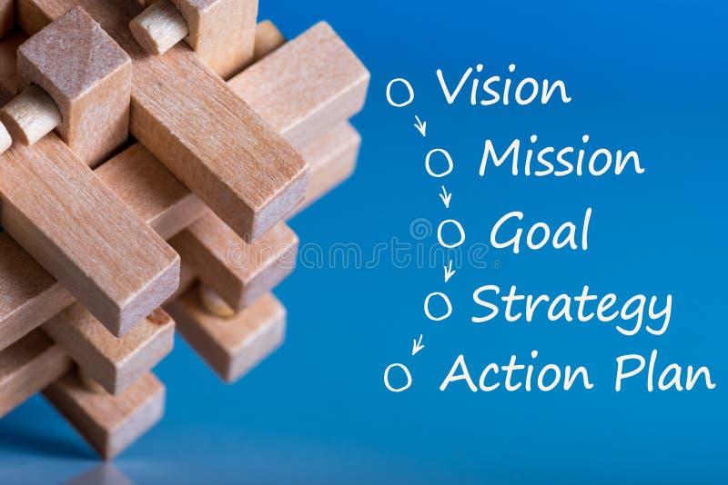 Головоломка с концепцией бизнес-процесса - зрением - полет - цель - стратегия - план действия На голубой предпосылке стоковое фото rf
