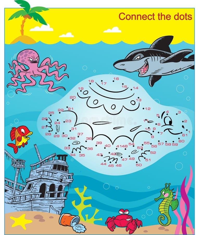 Головоломка с морской флорой и фауной, соединяет точки иллюстрация вектора