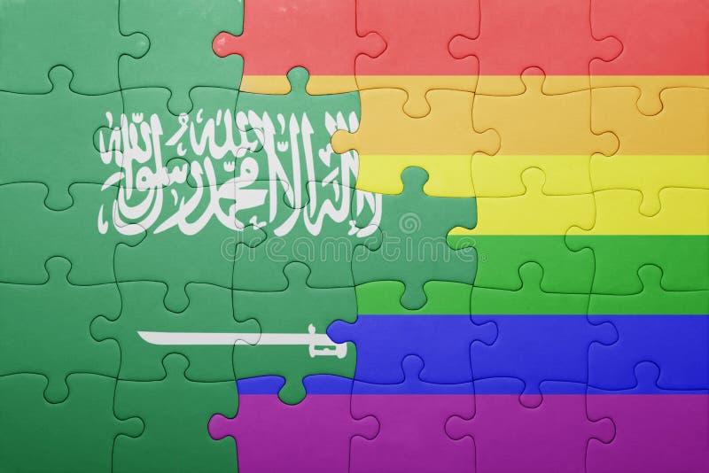 Головоломка с национальным флагом Саудовской Аравии и гомосексуалист сигнализируют стоковые фото