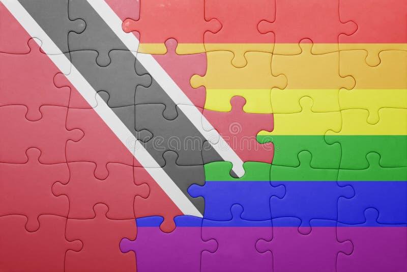 Головоломка с национальным флагом Тринидад и Тобаго и гомосексуалист сигнализируют стоковое фото rf