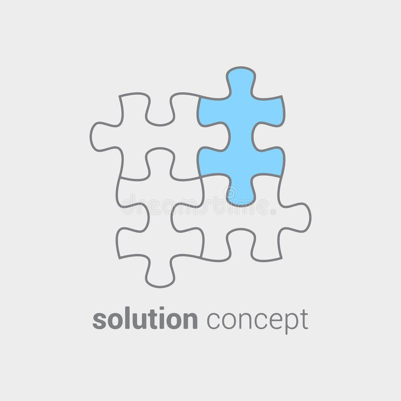 Головоломка с покрашенной частью как символ которому во всяком случае он важный считает решение Концепция интеграции водя к иллюстрация штока
